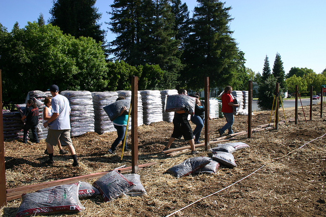 Volunteers prepping the new site.
